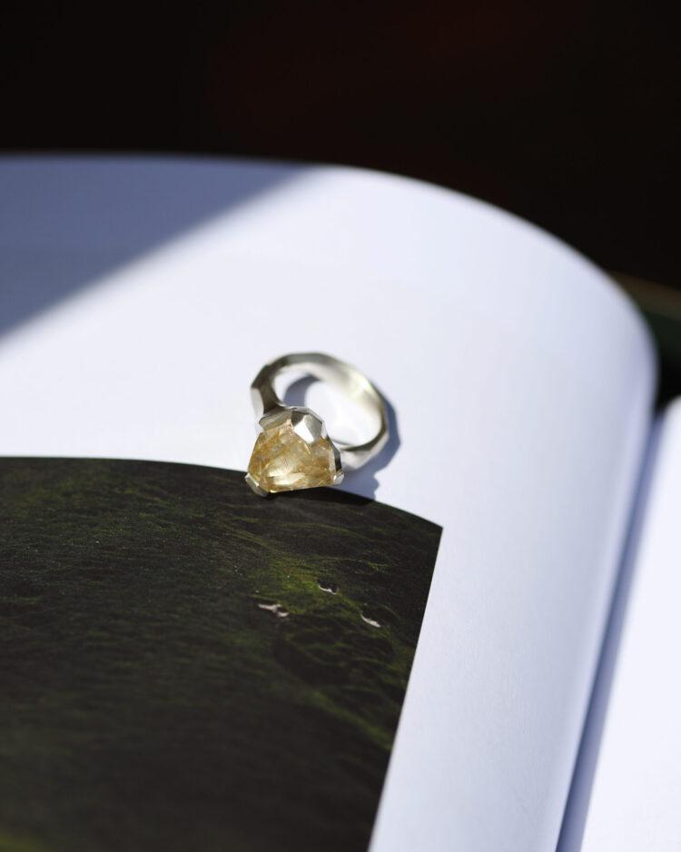 Mined Stone Ring Rutile Quartz
